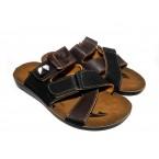 Шлепки  ** Demur 250518-3 черный с коричневым