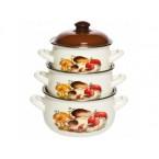 Набор посуды эмалированной  Interos 15251 Грибы ( 3 шт)