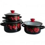 """Набор посуды эмалированной """"Цветы орхидеи - Экстра"""" 29482"""