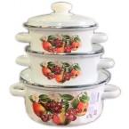 """Набор посуды эмалированной Idilia №92 """"Яблоки и вишни"""" * 40670"""