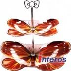 Блюдо фруктовница 2-х ярусная Interos 8/10 Red бабочка* 38191