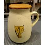 """Чашка 139 """"Кот""""с деревянной крышкой и ложкой *38883"""