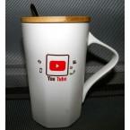 """Чашка 140 """"You Tube """"с деревянной крышкой и ложкой  *24360"""