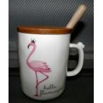 """Чашка 160 """"Фламинго"""" с деревянной крышкой и ложкой *38882"""