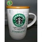 """Чашка 579 """" Starbucks"""" с деревянной крышкой и ложкой *39877"""