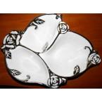 Салатник минажница Dinner Plate 152 лист с серебром ( 3 отсека) фарфор